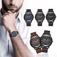 мужские наручные часы оптовых-Mens Watches  Men Leather Sports Watches Male Quartz Clock Retro Korean Fashion Wrist Gift relogio masculino