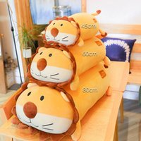 almohadas de leon al por mayor-Nuevos estilos Abajo algodón león muñeca almohada peluche de juguete de dibujos animados animal lindo cuerpo suave peluche animales almohada juguetes mejor regalo para niña