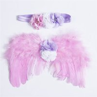 детские фотографии цветы оптовых-Newborn Baby Girl Photography Prop Feather Angel Wings+Flower Headband Princess Kid Photo Accessories