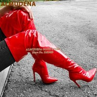 Wholesale bright boots resale online - ALMUDENA Red Pink Over The Knee Boots Patent Leather Thigh High Boots Stiletto Heel Pointed Toe Bright Mirror Leather Tall Boot