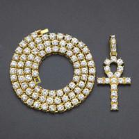 ägyptische kristalle großhandel-Frauen Anhänger Halskette Ägyptische Ankh Schlüssel Bling Bling Hip Hop Halskette Kristall Kubanische Gliederkette Halsketten Schmuck Heißer Verkauf