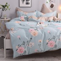 Wholesale full size girl beds online - 4Pcs Queen Twin size Cotton Girls Kids Bedding Set Flowers Leaves print Duvet Cover Bed sheet set bedlinen Pillowcases