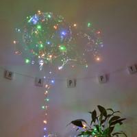 luzes led balões de plástico venda por atacado-Festa 1 PCS bobo bola transparente balão de plástico flexível durável balão de hélio levou luz festa de casamento decoração de aniversário