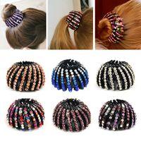 Wholesale bun clip maker resale online - Fashion Crystal Bird s Nest Hair Clips Headwear Woman Hair Ponytail Holder Curler Roller Headwear Hair Donut Bun Maker Girls S M L size