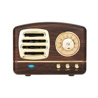 vintage baslar toptan satış-Gelişmiş Bas Taşınabilir Retro Radyo Bluetooth Hoparlör ile TF Kart Yuvası ve Dahili Mic Kablosuz Vintage Hoparlör Takım iOS için / Android Cihazı