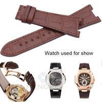 lederarmband 18mm schwarz großhandel-Luxuriöses echtes Lederarmband Gürtel 25 * 18mm Braun Schwarz Uhrenarmband Für PP Ohne Schnalle Zubehör