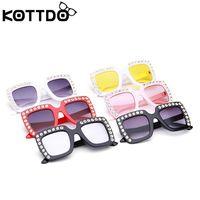 ingrosso occhiali da sole in cristallo-Strass di lusso Occhiali da sole per bambini Occhiali da sole quadrati Occhiali da sole per bambini Ragazzi Ragazze Okulary Oculos De Sol Feminino
