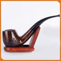 ingrosso tubi di tabacco in ebano-Grande vendita!!! 508 Tubi di legno di ebano Tipo piegato Manico a tazze Tubi di tabacco a mano Tubi di fumo per accessori da fumo Attrezzi per tabacco