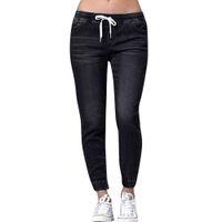 yüksek belli zayıflama kalem kot pantolon toptan satış-Yüksek Waisted Kadınlar Pantolon için Yırtık Kot Artı Boyutu Skinny Jeans Denim Erkek Arkadaşı Elastik Ince Streç Kalem Pantolon 5xl