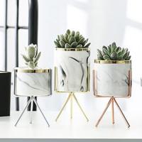 Wholesale gold silver pots resale online - Nordic Ceramic Iron Art Vase Marble Pattern Rose Gold Silver Tabletop Green Plant Flower Pot Home Office Vases Decorative Q190529