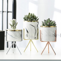 ingrosso vasi di piante verdi ceramiche-Nordic ceramica ferro arte vaso marmo modello oro rosa argento da tavolo pianta verde vaso di fiori home office vasi decorativi Q190529