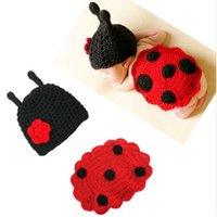 Wholesale new born photography props resale online - Baby photography new born ladybug costume newborn photo props infant blanket toddler beanies studio shooting photo fotografia accessories
