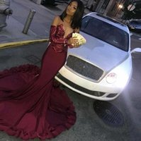 Wholesale maroon lace mermaid dress resale online - Maroon Prom Dresses Satin Mermaid Illusion Sequins Lace Top Black Girls Long Sleeves Formal Evening Party Dress African Arabic