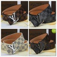jeans de buena calidad para mujer al por mayor-Cinturón de moda Cinturón de cuero para hombre Buena calidad Hebilla lisa Cinturones para hombre Para mujer Cinturón Jeans CorreaLouisEnvío gratis de Vuitton