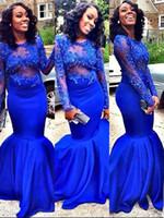 klassische königliche kleider großhandel-Noble Mermaid Style Ballkleider Royal Blue Durchsichtig Applikationen Spitze Ärmel Trompete Abendkleider vestidos festa Elegant Long