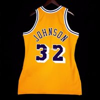 gilets 4xl achat en gros de-Surpiqué Johnson Mitchell Ness gros maillot d'or - kobe Mens taille XS-6XL maillots de basket-ball surpiqués