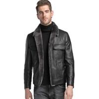 Wholesale sheeps skin jackets coats online - mens down jacket short outerwear coats lapel neckline genuine leather sheep skin custom made black leather coats