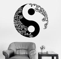 vinil duvar etiketleri yoga toptan satış-Mandala duvar sticker ev çıkartması buda yin yang çiçek yoga meditasyon vinil çıkartması duvar sanat mural ev dekor dekorasyon d 175