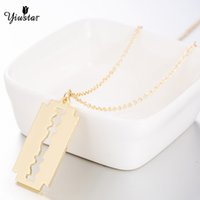 Wholesale razor blade necklaces resale online - yiustar Razor Blade Necklace Stainless Steel Necklaces For Women Fashion Jewelry Gold Chokers Pendant Necklaces Christmas Gifts