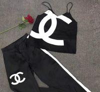womans camis achat en gros de-19ss Femmes Casual Lâche 2 pièces Suite Marque De Mode Deux-pièces Jogger Set D'été Dames Designer Survêtement Survêtement Costumes
