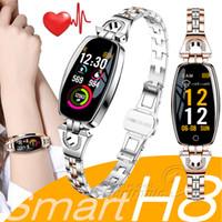 ingrosso migliori braccialetti-H8 Smart bracciale da donna braccialetto di fitness smartwatch cardiofrequenzimetro Blood Pressure Blood Oxygen Smart band Miglior regalo per Lady apple