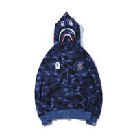 camisola com zíper com capuz feminino venda por atacado-Outono Inverno Novos Homens Mulheres Casuais Camo Azul Com Capuz Camisola dos homens Casuais Camo Solto Zipper Hoodies