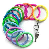 Wholesale new product key resale online - New Trend Silicone Bangle Key Ring Wrist Sports Keychain Bracelet Round Key Rings Large O Cute Colorful Keyring Hot Products