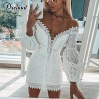 ingrosso corto di partito bianco-Ricamo bianco Elegante primavera estate abiti fasciatura donne Beach Sundress Sexy spalle spalla breve festa Wrap aderente