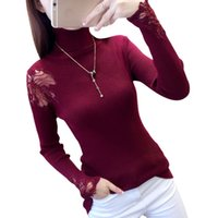 Wholesale korean new style winter lace for sale - Group buy 2019 Herfst And Winter Korean Style Women New Edge Mouwen High Neck Trui Used Slim Stretchy Trui Swetry Damskie