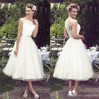 Wholesale tulle jewel neckline wedding dress for sale - country bohemian tea length wedding dress sheer scoop neckline cap sleeves tulle lace bridal gowns button back boho short wedding dress