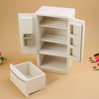 refrigerador de madera para niños al por mayor-Venta al por mayor Kids 1:12 Mini Puerta de Madera de Doble Juguete Refrigerador Decoración Muñeca para Casa Muñeca Accesorios