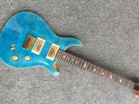 marcas de guitarras eléctricas china venda por atacado-Frete grátis top qualidade estilo clássico âmbar fretboard pássaro 24 trastes cor azul com maple flamed top guitarra elétrica