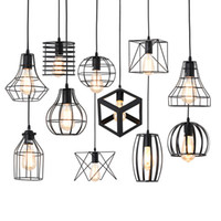 Wholesale black iron cage for sale - Group buy Modern black Cage Art pendant lights iron minimalist E27 Nordic loft pyramid Retro Industrial Pendant lamp metal Hanging Lamp