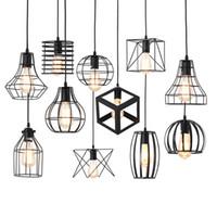 cage en fer noir achat en gros de-Moderne noir Cage Art lampes suspendues fer minimaliste E27 nordique loft pyramide Rétro industrielle suspension lampe en métal lampe suspendue