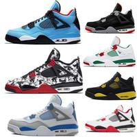 deri dövmeli toptan satış-Erkekler 4 s basketbol ayakkabı Raptors Dövme Travis Scott 4 Retro Deri Tasarımcısı spor ayakkabı Kaktüs Jack Bred Pizzeria Sıcak Punch sneakers tren