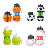 Wholesale folding drinking bottle resale online - hot Kids Sports Water Bottle School Drinking Cup Folding cup Ball Shaped Leak Proof Baseball Tennis Soccer Volleyball T2I5518