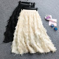 ingrosso gonna beige nappa-New Spring Summer Bubble Tulle Tassel Skirt Donna Gonne in tulle Donna Tutu Gonne gonna a pieghe nero bianco rosa