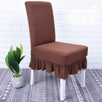 Astonishing Solid Skirt Dining Chair Covers Elastic Spandex Chair Slipcovers Black Wine Blue Red White Covers Housse De Chaise Mariage Short Links Chair Design For Home Short Linksinfo