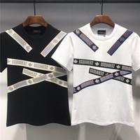 modal t shirts homens venda por atacado-Verão camiseta para tops dos homens tee moda tshirt d2 marca casual homens t-shirt de manga curta carta impressa o-pescoço t-shirt # dt422