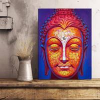 pinturas de decoração de casa de buda venda por atacado-Estátua de Buda Retrato Canvas Prints Imagem Pinturas Modernas Para Sala de estar Poster na Parede Home Decor