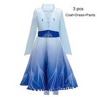 Wholesale coat pant dress girl resale online - Snow Queen II Cosplay Fancy Princess Dress for Girl Snowflake Cloak Costume Halloween Party Kids Dresses Coat Pants set A