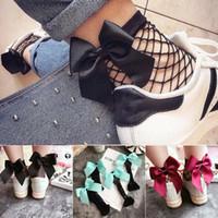 ingrosso calza della caviglia l'arco del merletto-Calze a rete alta calze a farfalla bow tie calze 2019 moda donna ragazze fishnet tacco grande arco calze di pizzo maglia c6118
