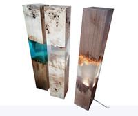 madera de resina al por mayor-Nueva lámpara de mesa de madera de resina de madera joya de iluminación diseño fresco muji interior decoración del hogar galería muebles epoxi lujo cristal casa decoración hogar en