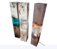 yeni ev aydınlatma tasarımı toptan satış-Yeni ahşap masa lambası reçine ahşap mücevher aydınlatma serin tasarım muji İç ev dekor galeri epoksi mobilya lüks kristal casa dekor içinde ev