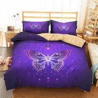 Wholesale purple 3d bedding set resale online - 3d Bed Cover Set Bedding Coverlet Purple Butterfly Printed Bedroom Clothes with Pillowcase for Adult King Double Size