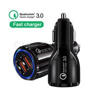 Wholesale car branded cell phones for sale – best QC3 A fast charge Qualcomm Quick Charge car charger Dual USB Fast Charging phone For Cell Phone With OPP bag