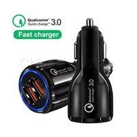 заряжатель клетки мешка оптовых-QC3.0 3.1A быстрая зарядка Qualcomm Quick Charge автомобильное зарядное устройство Dual USB быстрая зарядка телефона для мобильного телефона с OPP bag