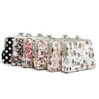 Wholesale coin online - Women Print cartoon animal purse kids boys girls wallet cute personality purse floral mini canvas coin bag QQA342