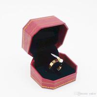 sarı düğün yüzük seti toptan satış-YENI Kadın 18 K Sarı Altın CZ Elmas Alyans Set 925 Gümüş Gül Altın Kaplama Paslanmaz çelik Erkek Kız çiftler Yüzükler ile kutu