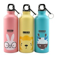 Wholesale sports aluminum water bottles resale online - Lovely Animal ml Large Capacity Sports Water Bottles Outdoor Portable Cycling Camping Aluminum Alloy Kids Water Cups Bottles DH1106 T03